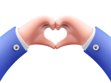 Cartoon character hands making a heart shape on white background. 3d render. 写真素材