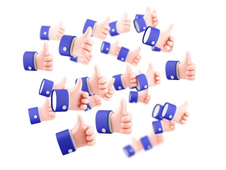 Flying thumbs up symbols, cartoon hand showing like, sign of social media. 3d render.