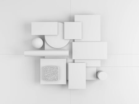 Geometric objects on white background. Set of blank rectangles, square, cylinder, sphere for material palettes. 3d render.