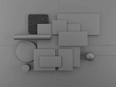Geometric objects on gray background. Set of blank rectangles, square, cylinder, sphere for material palettes. 3d render.