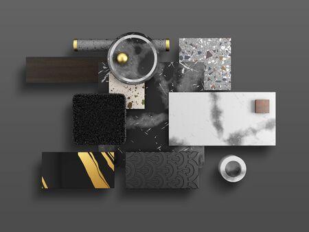 Samples of finishing materials for interior design. Venetian terrazzo, carpet, laminate, ceramic tile, granite, marble, on gray background. 3d render.
