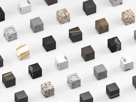 Cubic samples of finishing materials for interior design. Venetian terrazzo, wood, granite, and marble on white background. 3d render. 写真素材