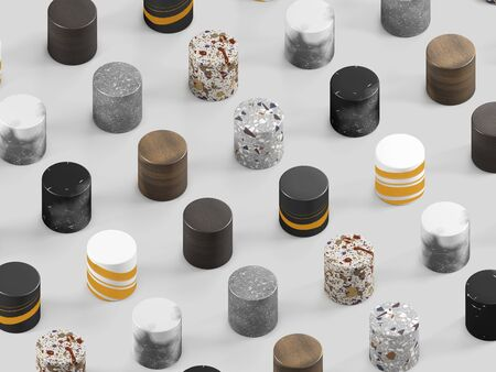 Cilindric samples of finishing materials for interior design. Venetian terrazzo, wood, granite, and marble on white background. 3d render.
