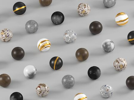 Spherical samples of finishing materials for interior design. Venetian terrazzo, wood, granite, and marble on gray background. 3d render.