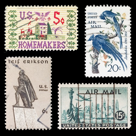 erikson: Old US Stamps Stock Photo