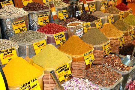 Oriental spices in Turkey market photo