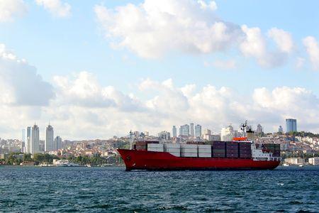 bosporus: Container ship on Bosporus Stock Photo