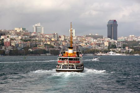 seaway: Istanbul city with ferry and Dolmabahce Palace