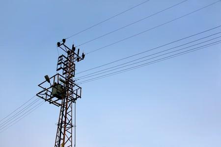 High voltage transformer on a pylon Stock Photo - 3977008
