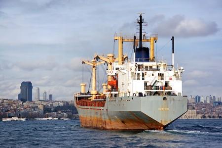 bosporus: Cargo ship entering to Bosporus
