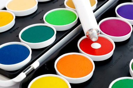 Watercolors with opaque white on black background Stock Photo - 4155636