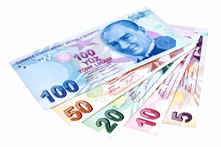 Colorful Turkish banknotes