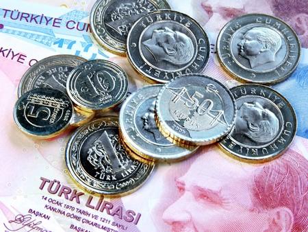 Coins on Turkish bill Stock Photo - 4467118