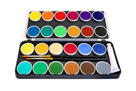 Watercolor box on white background photo