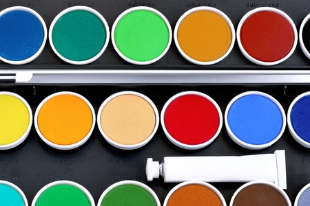 Watercolors with white tube photo