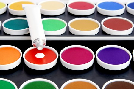 Color box with white tube Stock Photo - 4489617