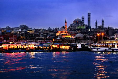 An Istanbul night with lights and reflections from Golden Horn Stock Photo