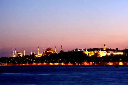 An Istanbul night with tree national landmarks Stock Photo