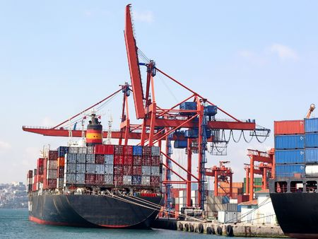 Fully loaded container ship in Istanbul docks Stock Photo