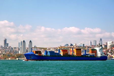 Container ship moving from Black Sea to Marmara photo
