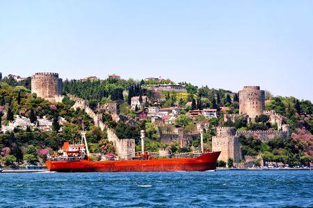 hisari: Castle and ship on Bosporus Stock Photo
