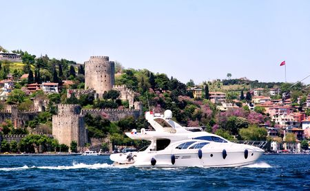 cruising: Luxury yacht cruising on Bosporus