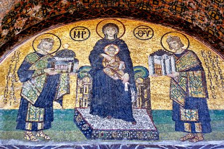 Emp. Constantin en Justinianus het aanbieden van Constantinopel Jezus