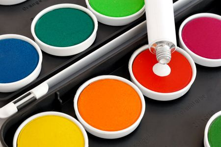 Watercolors with opaque white on black background Stock Photo - 5271785
