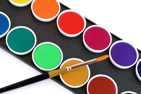 Paint brush on watercolor box Stock Photo - 5271787