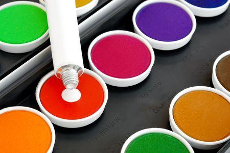 ink drop: White ink drop on watercolors