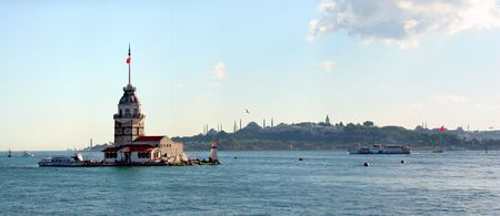 Maidens tower on front of Istanbul city