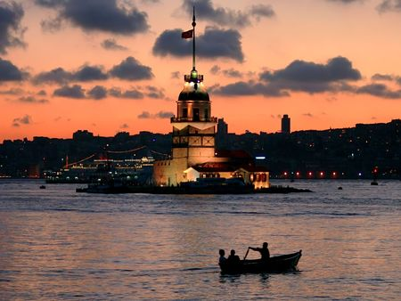Leanders tower at dusk. Istanbul - Turkey 스톡 사진