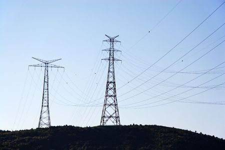 electricity supply: Electricity supply pylons   Stock Photo