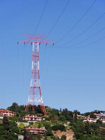 Electricity pylon on top of Bosporus hill photo