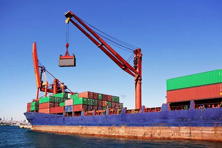 export and import: Contenedores de carga Foto de archivo