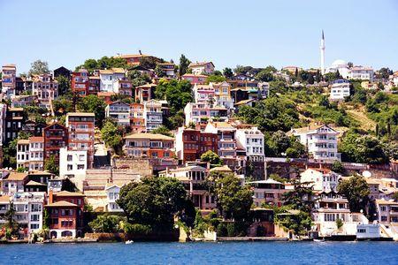 bosporus: Buildings along Bosporus. Sariyer, Istanbul
