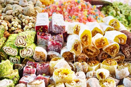 turkish dessert: Assorted Turkish Delight bars (Sugar coated soft candy)