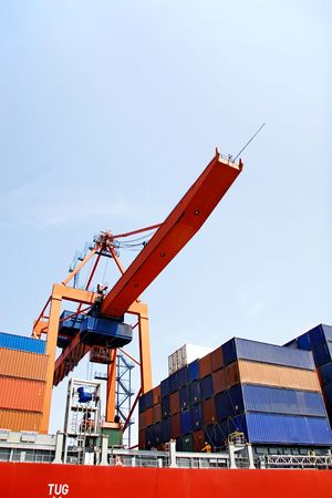 Container ship under gantry Stock Photo - 5901650