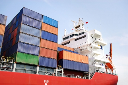 Stacked containers on ship deck Stock Photo - 5921221
