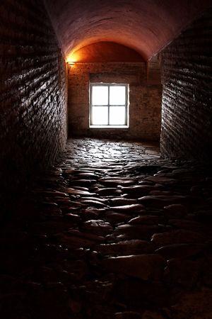 sophia: Looking down a long dark passageway inside St Sophia