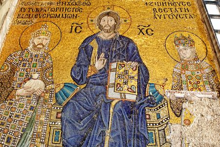 iconography: Byzantine mosaic figure Jesus in Saint Sophia at Istanbul Editorial