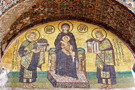 justinian: Emperors presenting Istanbul to Mary, Holding the Christ Child Stock Photo