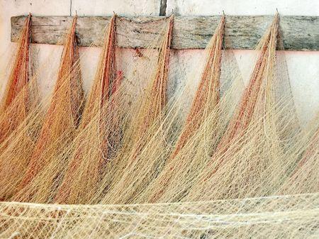 redes de pesca: Red de pesca ahorcado en la antigua casa de campo