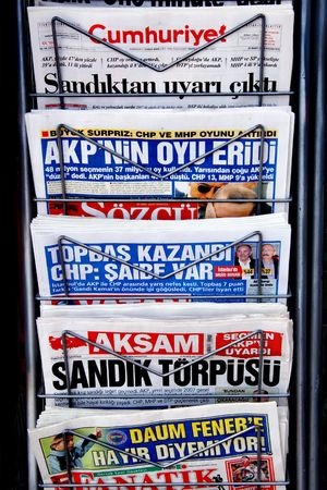 periodical: Ankara, Turkey - March 30, 2009: Prime Minister Erdogans party lost votes for the first time.