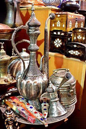 Souvenir coffee pot set on display at Grand Bazaar photo