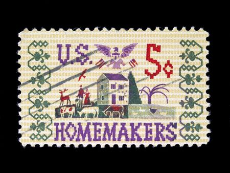 A stamp issued to honor the homemakers in 1964 photo