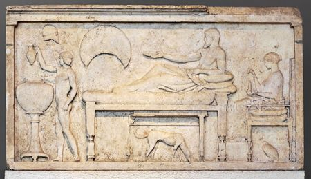 funerary: Funerary stele with banquet scene. Sculpture from attic (Greek) period, 450-480 BC