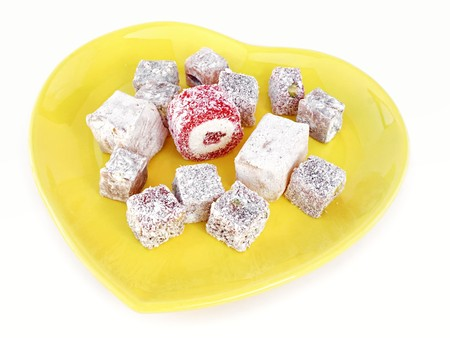 Turkish Delight in a heart shaped plate photo