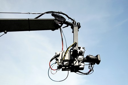 Tv camera on a crane photo