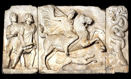 anatolia: Boar hunt scene, Ancient Roman sculpture,